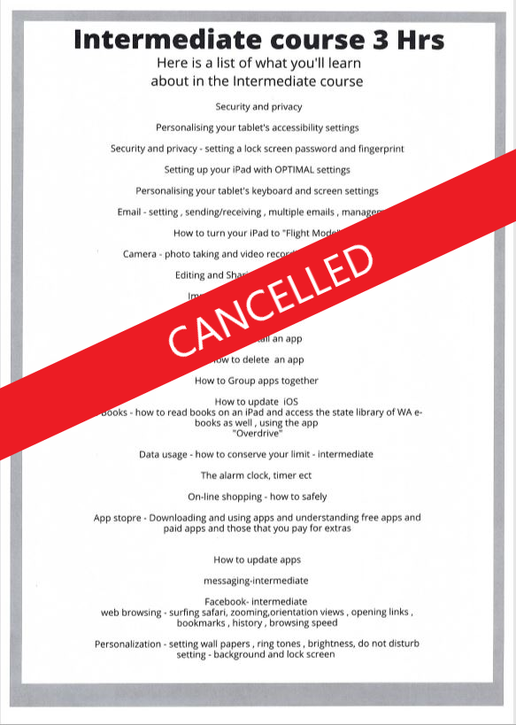 EVENT CANCELLED - Intermediate Digital Classes and help for over 50's