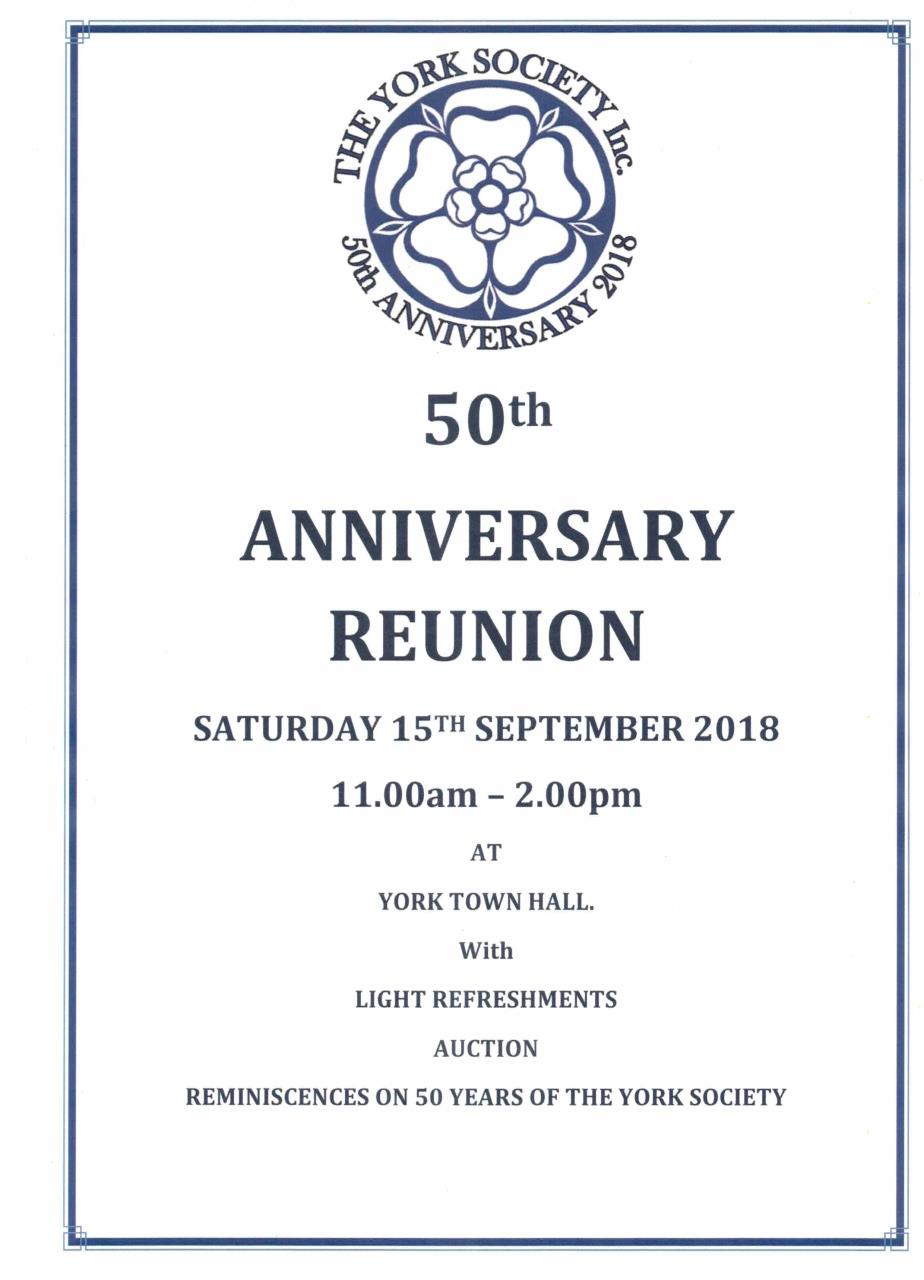 The York Society 50th Anniversary Reunion